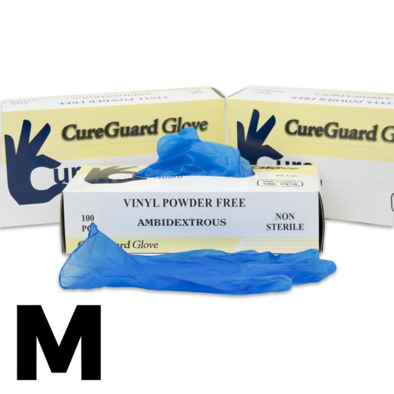 100 db CureGuard púdermentes, kék színű Vinyl kesztyű M méret