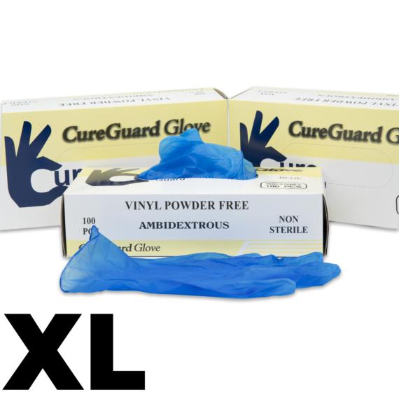 100 db CureGuard púdermentes, kék színű Vinyl kesztyű XL méret